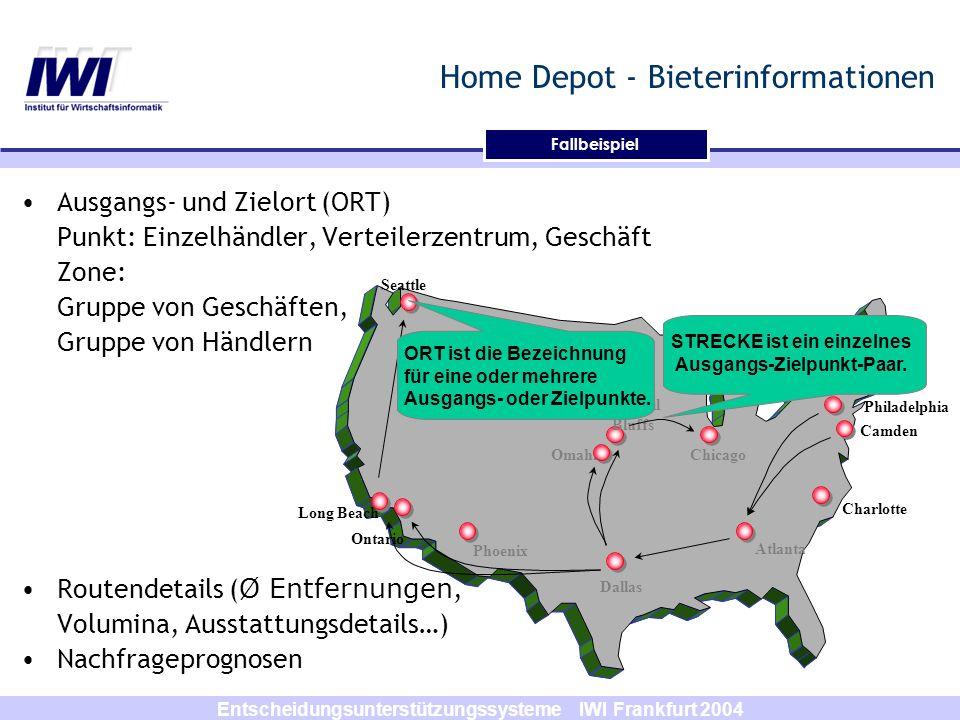 Entscheidungsunterstützungssysteme IWI Frankfurt 2004 Home Depot - Bieterinformationen Ausgangs- und Zielort (ORT) Punkt: Einzelhändler, Verteilerzent