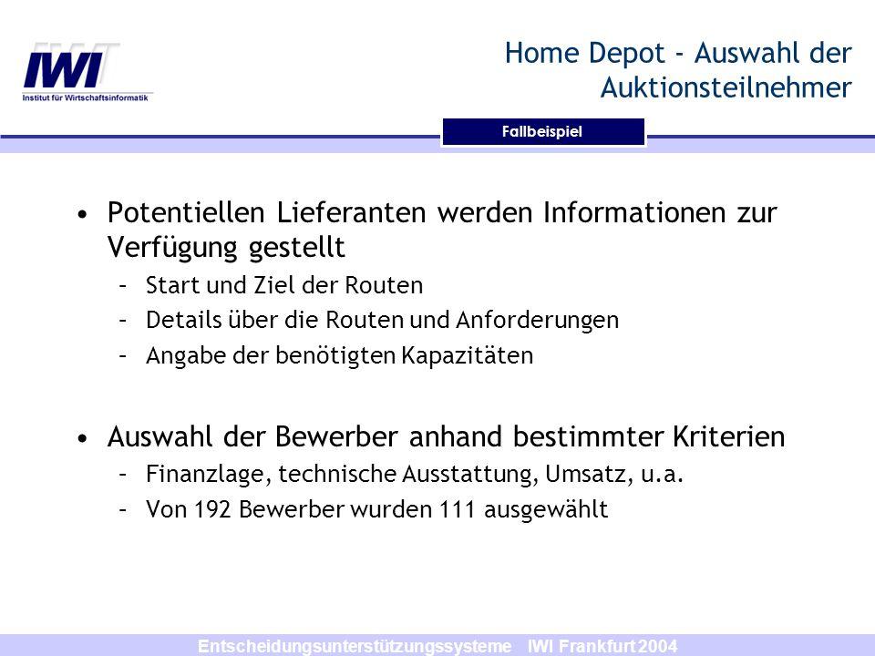 Entscheidungsunterstützungssysteme IWI Frankfurt 2004 Fallbeispiel Home Depot - Auswahl der Auktionsteilnehmer Potentiellen Lieferanten werden Informa