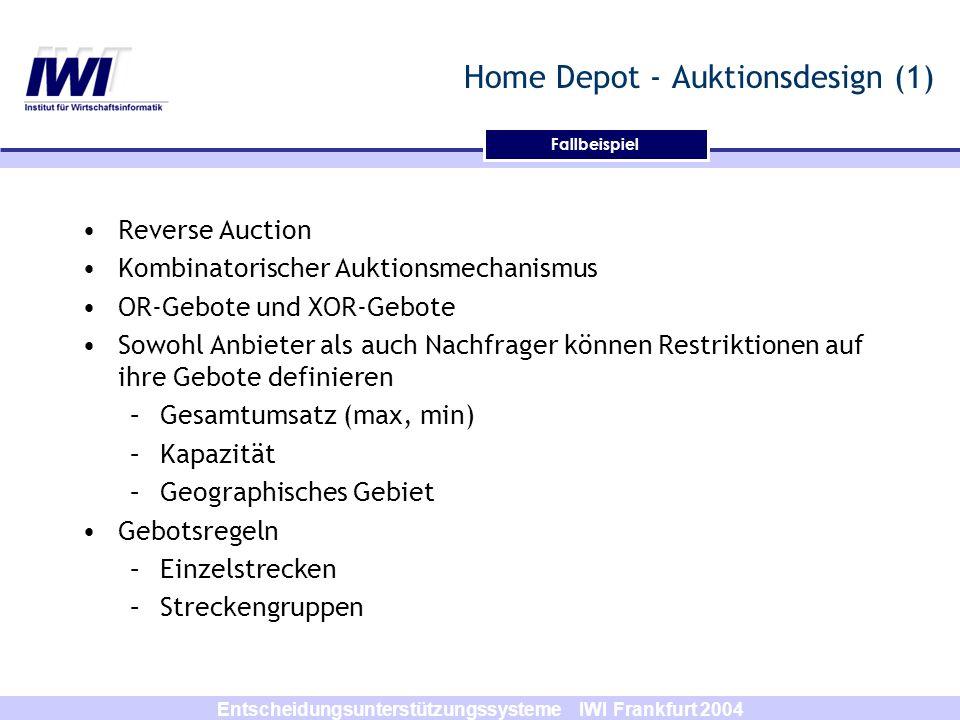 Entscheidungsunterstützungssysteme IWI Frankfurt 2004 Fallbeispiel Home Depot - Auktionsdesign (1) Reverse Auction Kombinatorischer Auktionsmechanismu