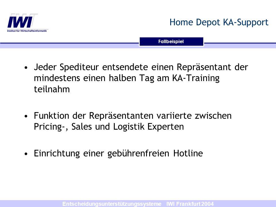 Entscheidungsunterstützungssysteme IWI Frankfurt 2004 Fallbeispiel Home Depot KA-Support Jeder Spediteur entsendete einen Repräsentant der mindestens