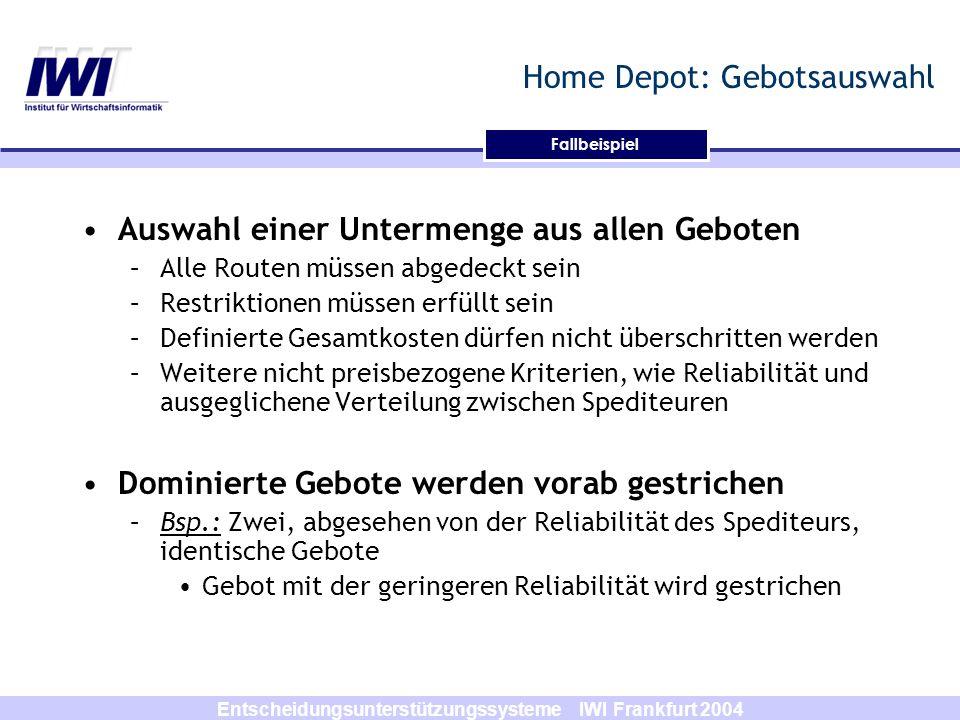 Entscheidungsunterstützungssysteme IWI Frankfurt 2004 Fallbeispiel Home Depot: Gebotsauswahl Auswahl einer Untermenge aus allen Geboten –Alle Routen m