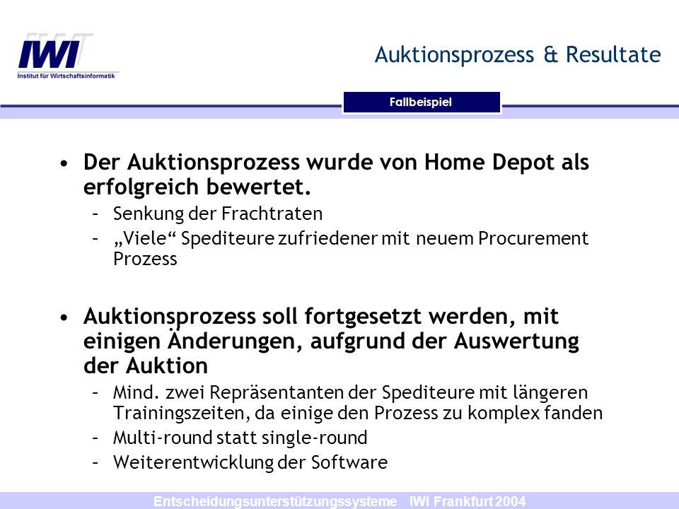 Entscheidungsunterstützungssysteme IWI Frankfurt 2004 Fallbeispiel Auktionsprozess & Resultate Der Auktionsprozess wurde von Home Depot als erfolgreic