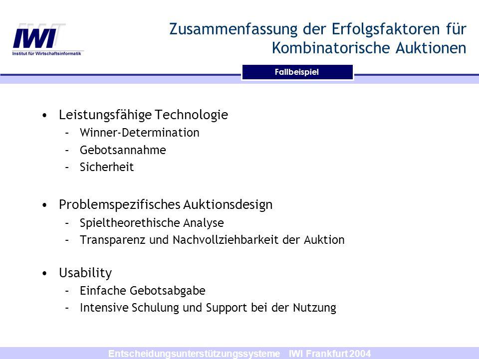 Entscheidungsunterstützungssysteme IWI Frankfurt 2004 Zusammenfassung der Erfolgsfaktoren für Kombinatorische Auktionen Leistungsfähige Technologie –W