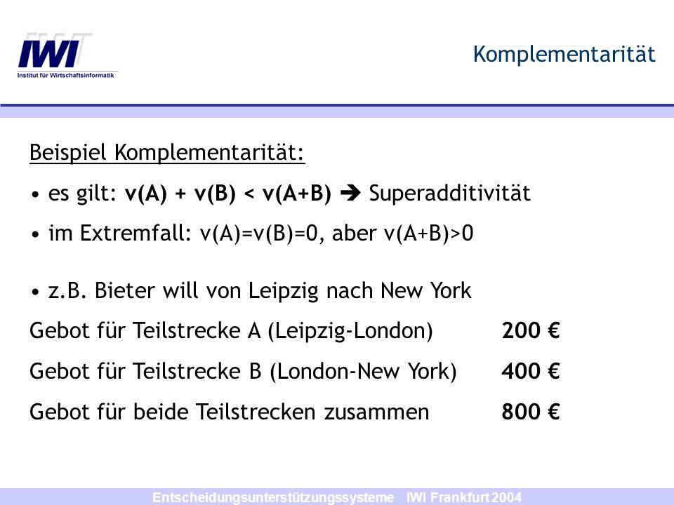 Entscheidungsunterstützungssysteme IWI Frankfurt 2004 Formale Darstellung des Combinatorial Auction Problems NMenge der Bieter MMenge der verschiedenen Objekte/Güter mein Objekt der Menge M SBündel von Objekten/Gütern b j (S)Gebot von Bieter j für Bündel S b(S)maximales Gebot für Bündel S iIndex Bündel Annahme: von jedem Gut m ist nur eine Einheit vorhanden