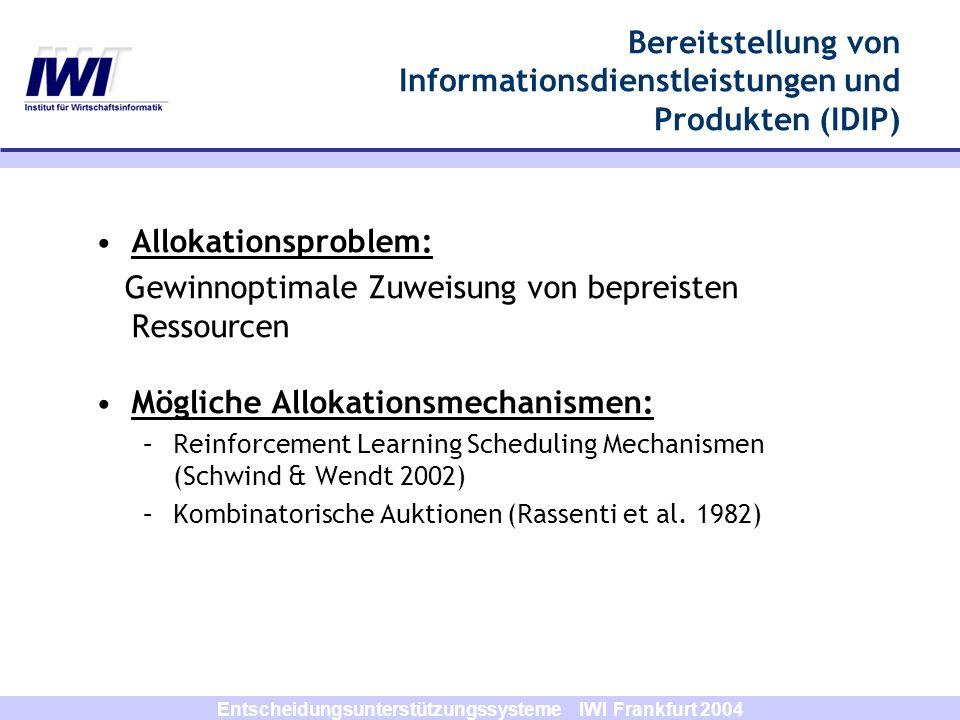 Entscheidungsunterstützungssysteme IWI Frankfurt 2004 Allokationsproblem: Gewinnoptimale Zuweisung von bepreisten Ressourcen Mögliche Allokationsmecha