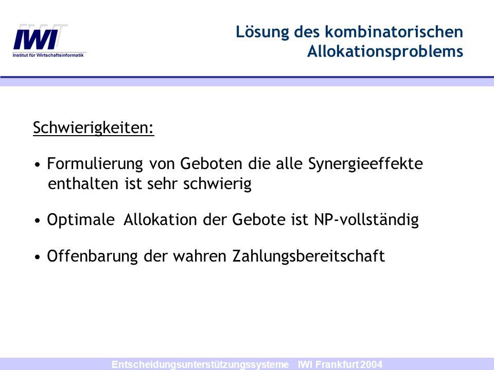 Entscheidungsunterstützungssysteme IWI Frankfurt 2004 Schwierigkeiten: Formulierung von Geboten die alle Synergieeffekte enthalten ist sehr schwierig