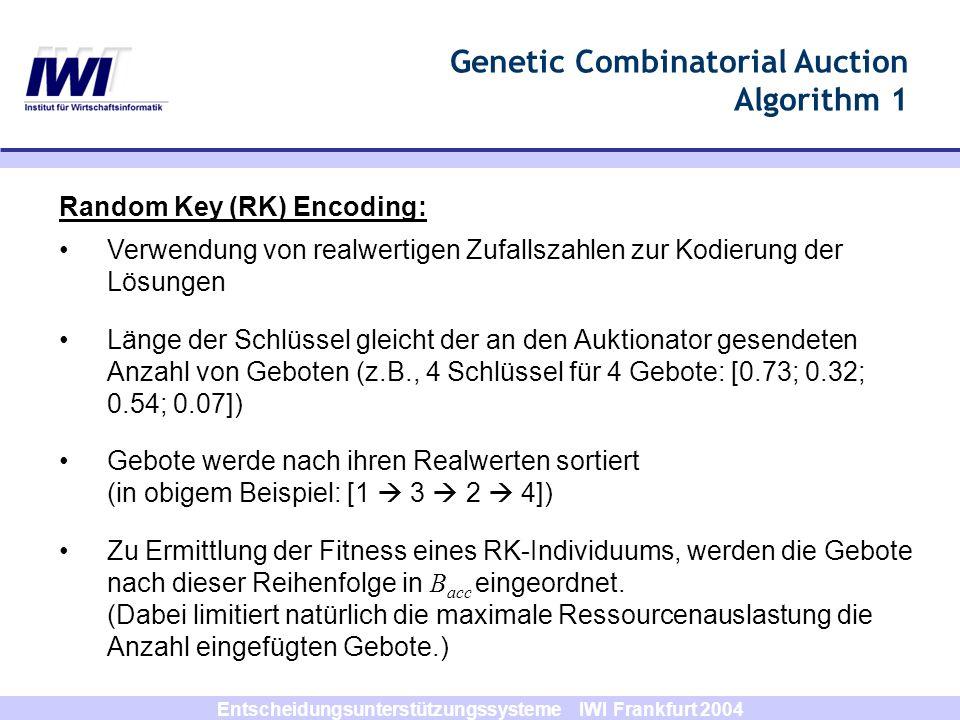 Entscheidungsunterstützungssysteme IWI Frankfurt 2004 Genetic Combinatorial Auction Algorithm 1 Random Key (RK) Encoding: Verwendung von realwertigen