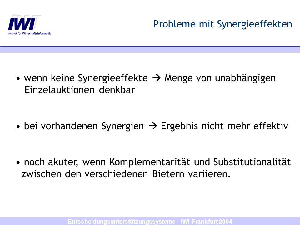 Entscheidungsunterstützungssysteme IWI Frankfurt 2004 Ausblick and Referenzen Ausblick: Einbringen und Evaluieren von alternativen Lösungs- ansätzen: B&B, exakt Referenzen: http://www.combinatorial-auction.de http://www.dynamic-pricing.org Schwind, Michael; Stockheim, Tim; Rothlauf, Franz Optimization Heuristics for the Combinatorial Auction Problem In: Proceedings of the Congress on Evolutionary Computation (CEC 2003), pp.