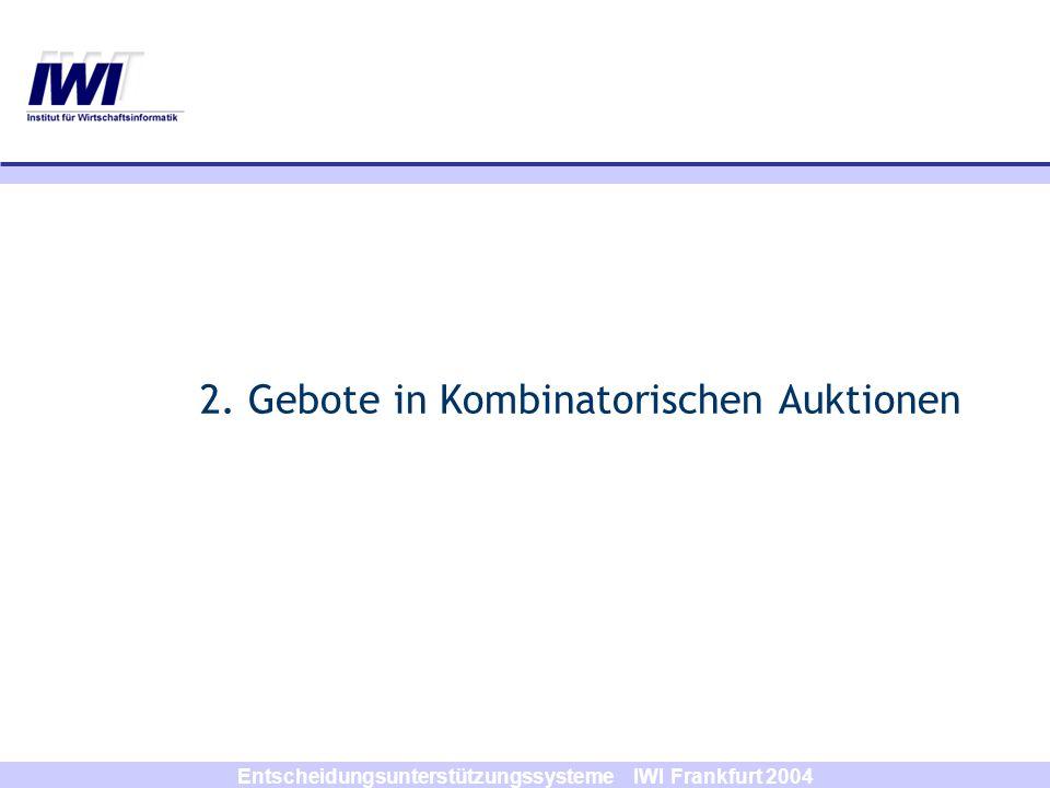 Entscheidungsunterstützungssysteme IWI Frankfurt 2004 KA-Anwendungen (2) Scheduling –Ressourcen-Scheduling (Nasa-Raumstation) –Kursvergabe in Schulen (University of Chicago) –Verhandlungsprotokolle für die Supply-Chain-Koordination Finanzen –Handel von Finanzprodukten (Combined Value Trading) –NetExchange (Kombinatorische Börse) –Verkauf von Immobilien-Portfolios (Multiattributive Auction) Beschaffungsauktionen –Mars Inc.