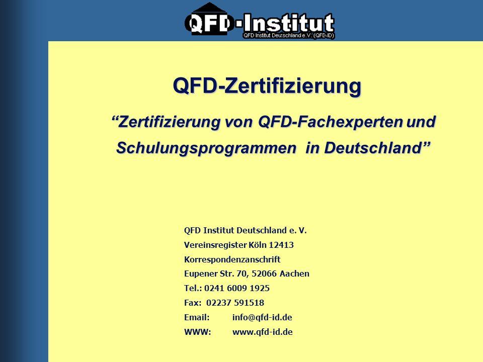 QFD Institut Deutschland e. V. Vereinsregister Köln 12413 Korrespondenzanschrift Eupener Str. 70, 52066 Aachen Tel.: 0241 6009 1925 Fax: 02237 591518