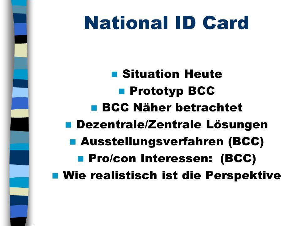 National ID Card Situation Heute Prototyp BCC BCC Näher betrachtet Dezentrale/Zentrale Lösungen Ausstellungsverfahren (BCC) Pro/con Interessen: (BCC) Wie realistisch ist die Perspektive