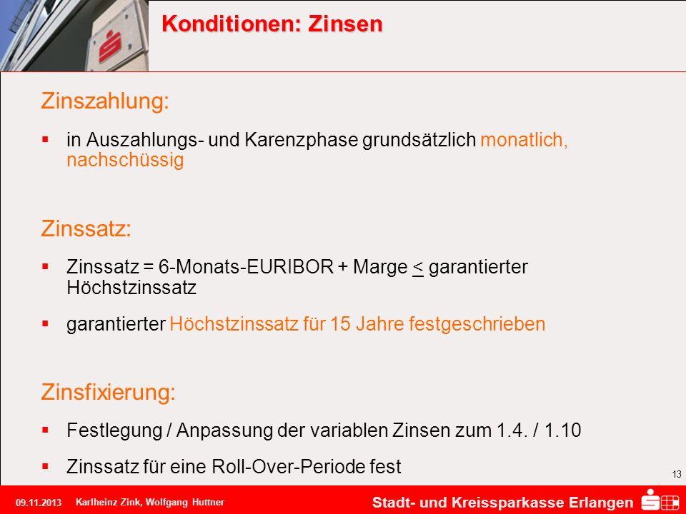 Stadt- und Kreissparkasse Erlangen 09.11.2013 Karlheinz Zink, Wolfgang Huttner 13 Konditionen: Zinsen Zinszahlung: in Auszahlungs- und Karenzphase gru