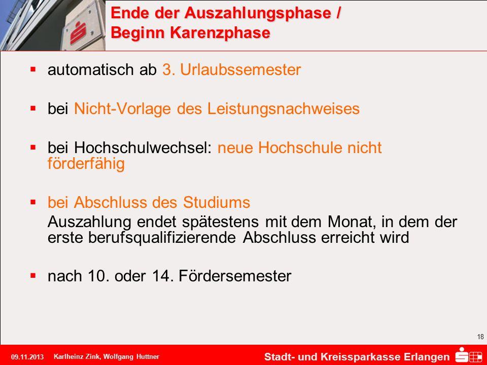 Stadt- und Kreissparkasse Erlangen 09.11.2013 Karlheinz Zink, Wolfgang Huttner 18 Ende der Auszahlungsphase / Beginn Karenzphase automatisch ab 3. Url