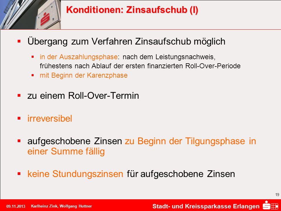 Stadt- und Kreissparkasse Erlangen 09.11.2013 Karlheinz Zink, Wolfgang Huttner 19 Konditionen: Zinsaufschub (I) Übergang zum Verfahren Zinsaufschub mö