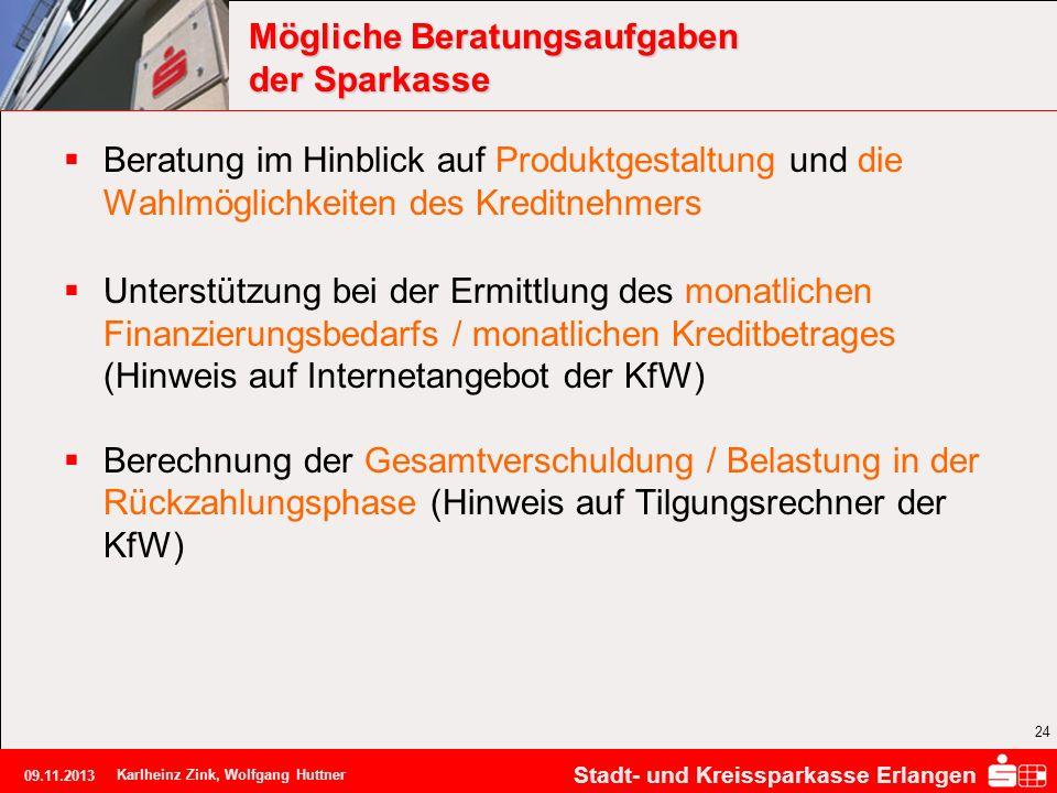 Stadt- und Kreissparkasse Erlangen 09.11.2013 Karlheinz Zink, Wolfgang Huttner 24 Mögliche Beratungsaufgaben der Sparkasse Beratung im Hinblick auf Pr