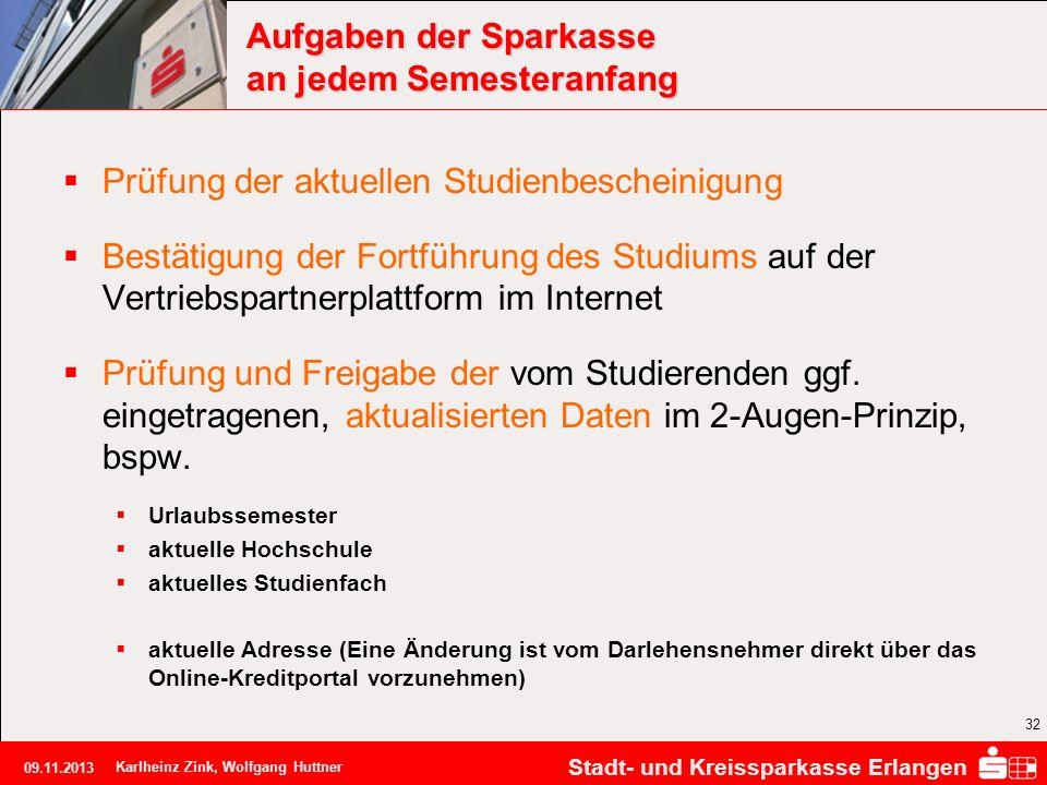 Stadt- und Kreissparkasse Erlangen 09.11.2013 Karlheinz Zink, Wolfgang Huttner 32 Aufgaben der Sparkasse an jedem Semesteranfang Prüfung der aktuellen