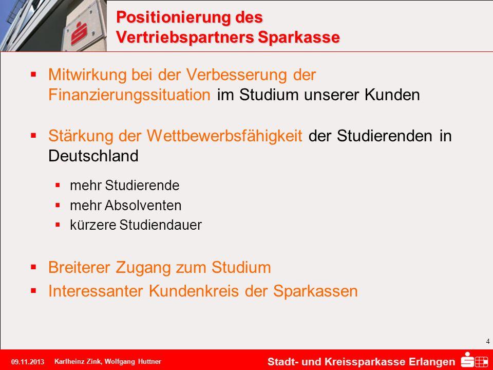 Stadt- und Kreissparkasse Erlangen 09.11.2013 Karlheinz Zink, Wolfgang Huttner 4 Positionierung des Vertriebspartners Sparkasse Mitwirkung bei der Ver