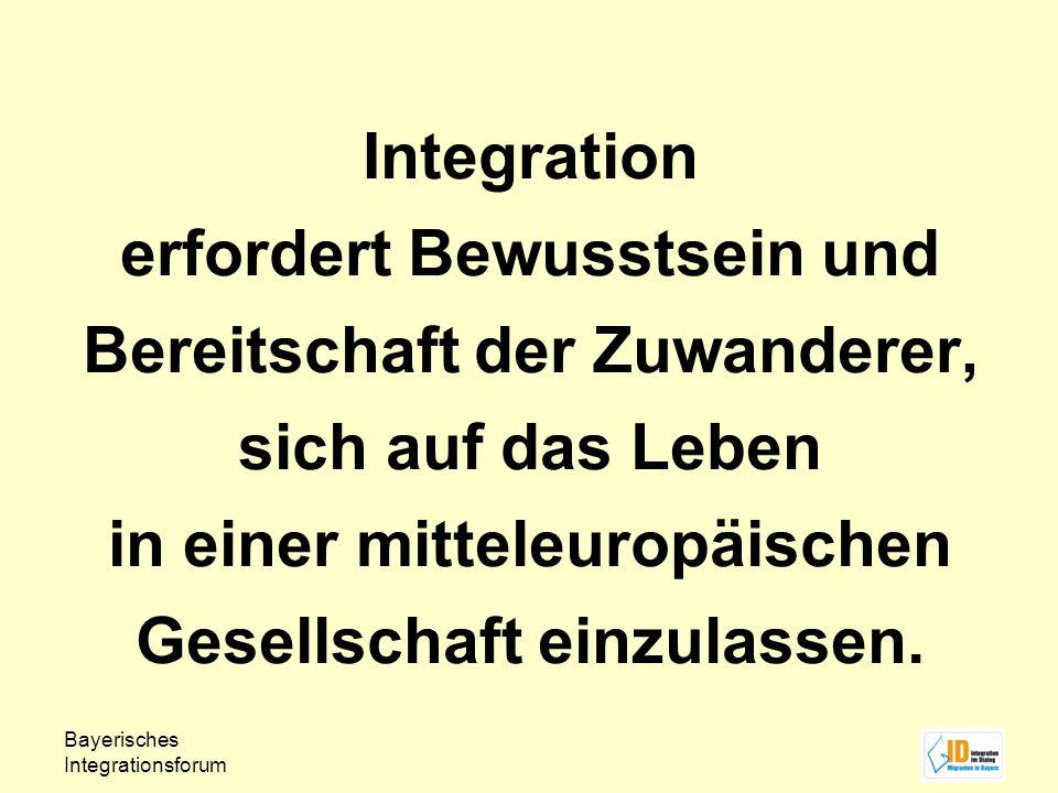 Integration erfordert Bewusstsein und Bereitschaft der Zuwanderer, sich auf das Leben in einer mitteleuropäischen Gesellschaft einzulassen.