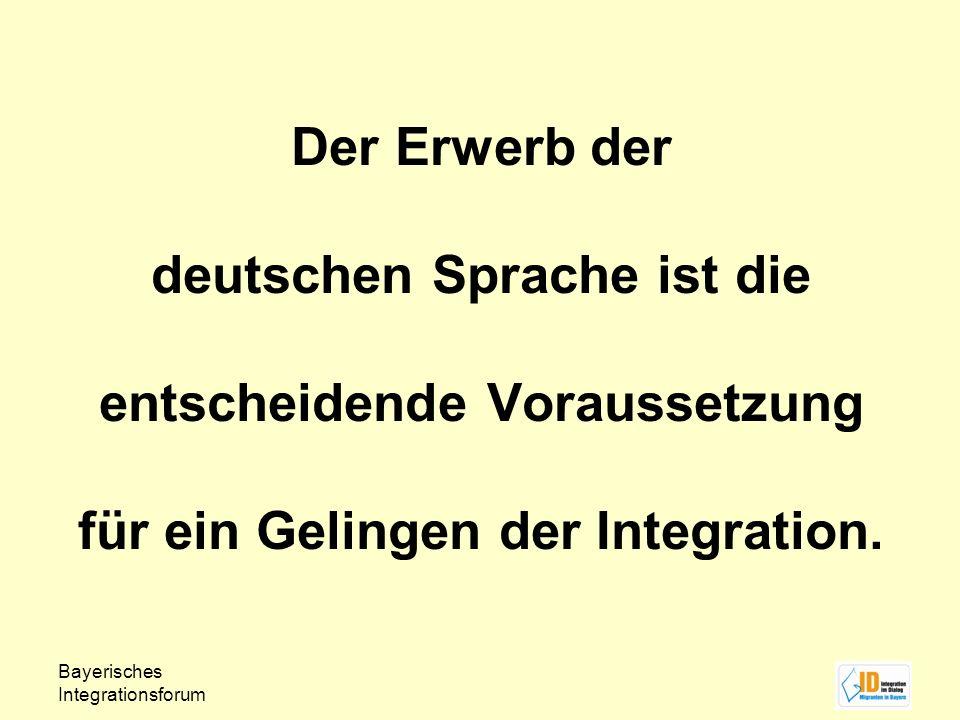 Der Erwerb der deutschen Sprache ist die entscheidende Voraussetzung für ein Gelingen der Integration.