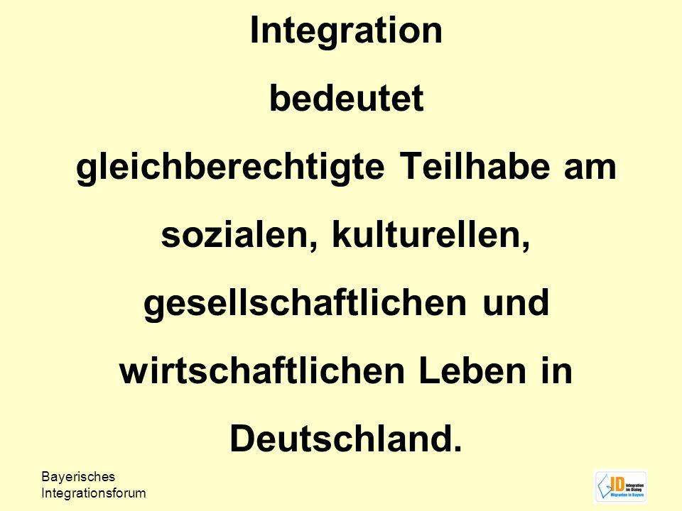 Integration bedeutet gleichberechtigte Teilhabe am sozialen, kulturellen, gesellschaftlichen und wirtschaftlichen Leben in Deutschland.