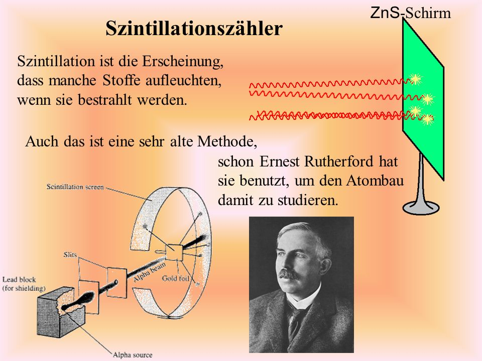 Szintillationszähler Szintillation ist die Erscheinung, dass manche Stoffe aufleuchten, wenn sie bestrahlt werden.