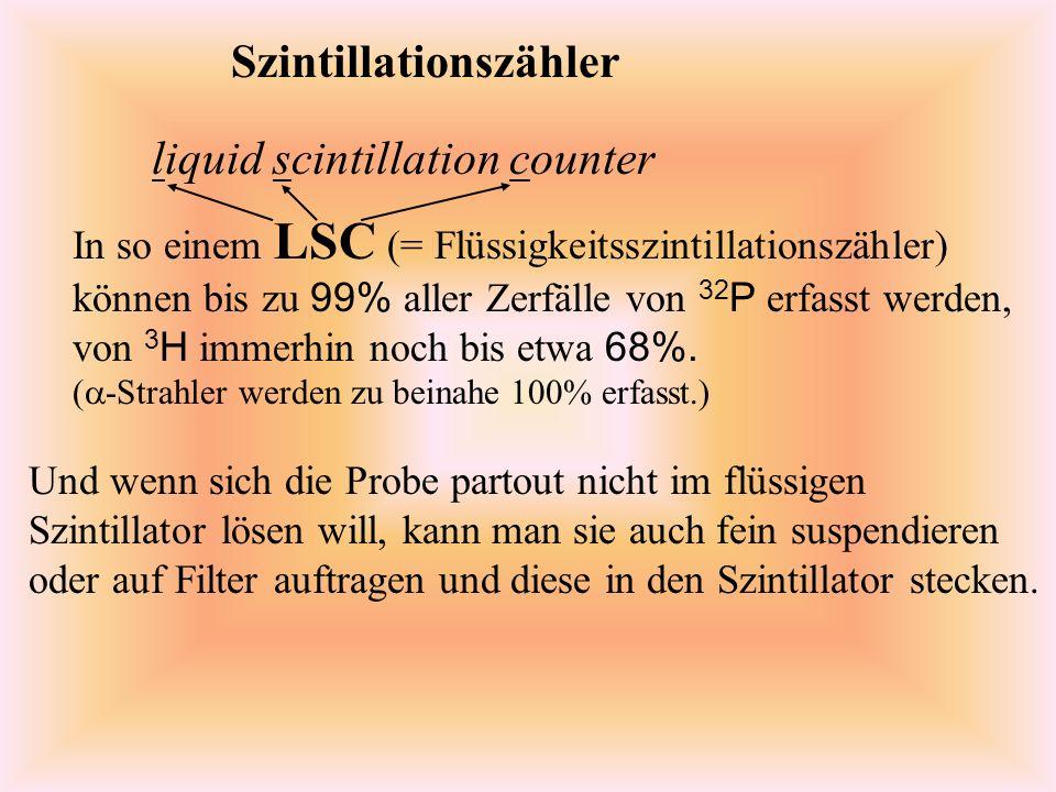 Szintillationszähler In so einem LSC (= Flüssigkeitsszintillationszähler) können bis zu 99% aller Zerfälle von 32 P erfasst werden, von 3 H immerhin noch bis etwa 68%.