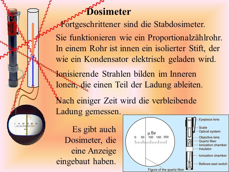 Dosimeter Sie funktionieren wie ein Proportionalzählrohr.