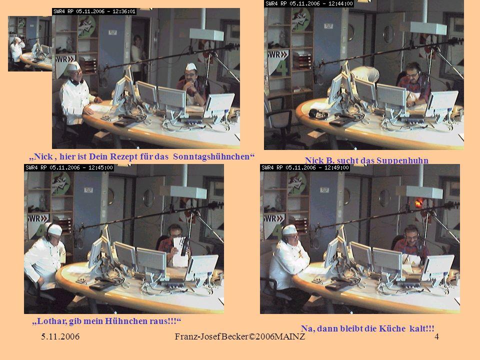 5.11.2006Franz-Josef Becker©2006MAINZ4 Nick B. sucht das Suppenhuhn Nick, hier ist Dein Rezept für das Sonntagshühnchen Na, dann bleibt die Küche kalt