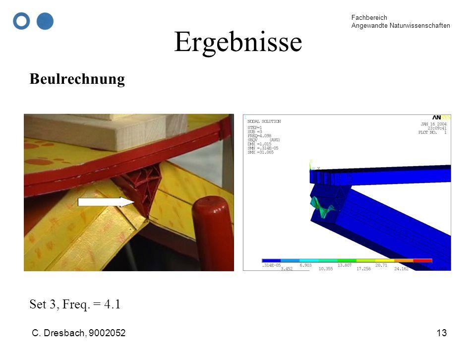Fachbereich Angewandte Naturwissenschaften C. Dresbach, 900205213 Ergebnisse Beulrechnung Set 3, Freq. = 4.1