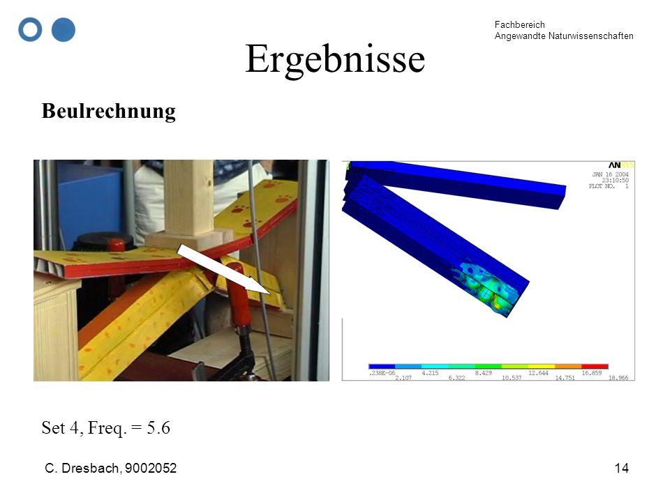 Fachbereich Angewandte Naturwissenschaften C. Dresbach, 900205214 Ergebnisse Beulrechnung Set 4, Freq. = 5.6