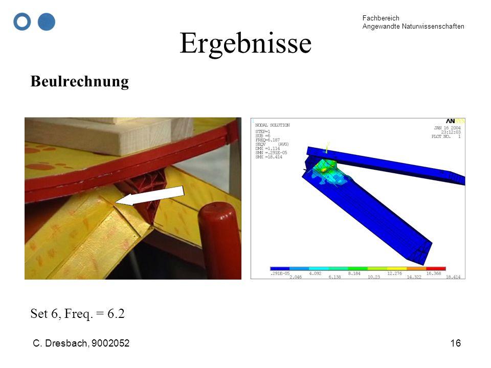 Fachbereich Angewandte Naturwissenschaften C. Dresbach, 900205216 Ergebnisse Beulrechnung Set 6, Freq. = 6.2