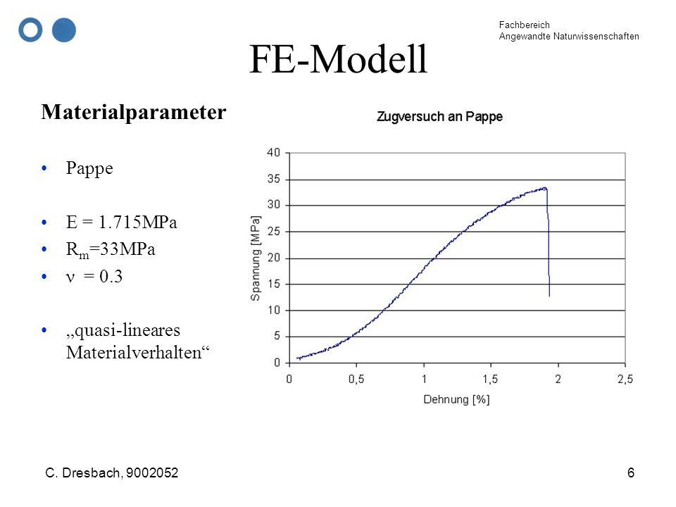 Fachbereich Angewandte Naturwissenschaften C. Dresbach, 90020526 FE-Modell Materialparameter Pappe E = 1.715MPa R m =33MPa ν = 0.3 quasi-lineares Mate