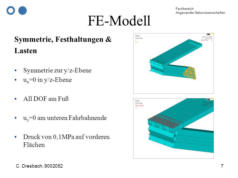 Fachbereich Angewandte Naturwissenschaften C. Dresbach, 90020527 FE-Modell Symmetrie, Festhaltungen & Lasten Symmetrie zur y/z-Ebene u x =0 in y/z-Ebe