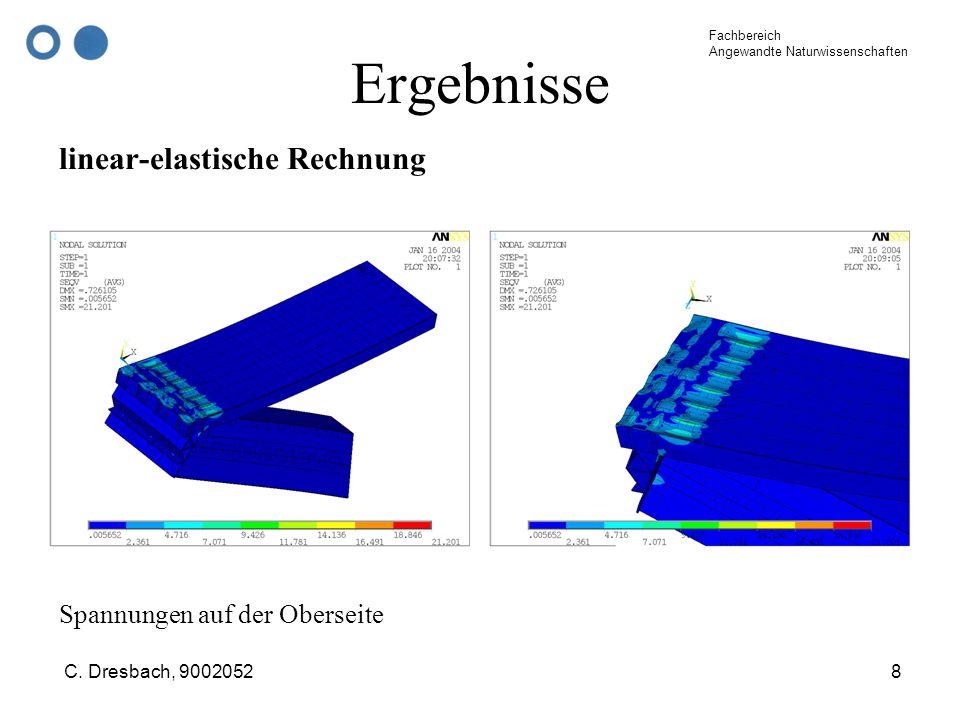 Fachbereich Angewandte Naturwissenschaften C. Dresbach, 90020528 Ergebnisse linear-elastische Rechnung Spannungen auf der Oberseite
