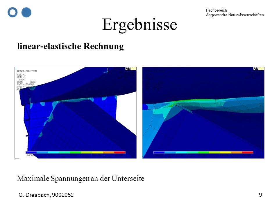 Fachbereich Angewandte Naturwissenschaften C. Dresbach, 90020529 Ergebnisse linear-elastische Rechnung Maximale Spannungen an der Unterseite