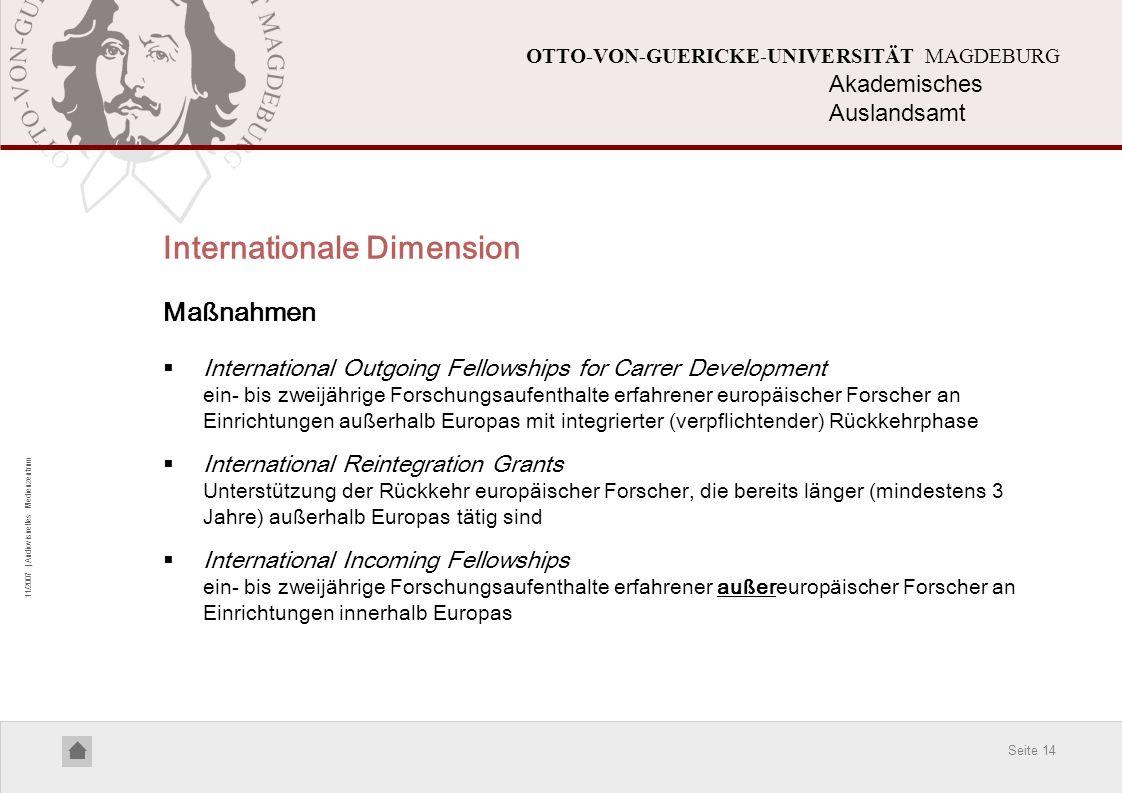 Seite 14 11/2007 | Audiovisuelles Medienzentrum OTTO-VON-GUERICKE-UNIVERSITÄT MAGDEBURG Internationale Dimension Maßnahmen International Outgoing Fell
