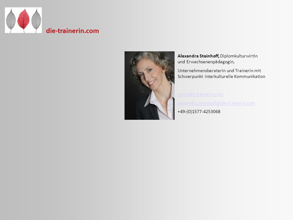 die-trainerin.com Alexandra Steinhoff, Diplomkulturwirtin und Erwachsenenpädagogin, Unternehmensberaterin und Trainerin mit Schwerpunkt interkulturell