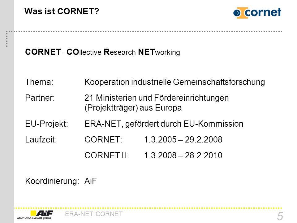 ERA-NET CORNET 5 Was ist CORNET? CORNET - CO llective R esearch NET working Thema:Kooperation industrielle Gemeinschaftsforschung Partner: 21 Minister