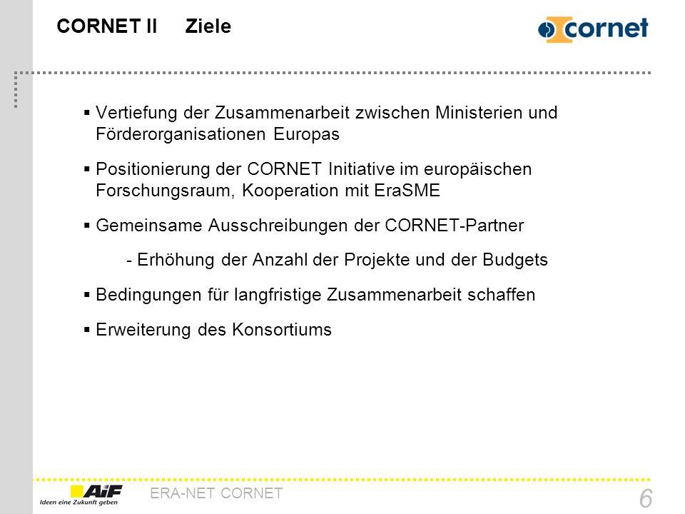 ERA-NET CORNET 6 CORNET II Ziele Vertiefung der Zusammenarbeit zwischen Ministerien und Förderorganisationen Europas Positionierung der CORNET Initiat