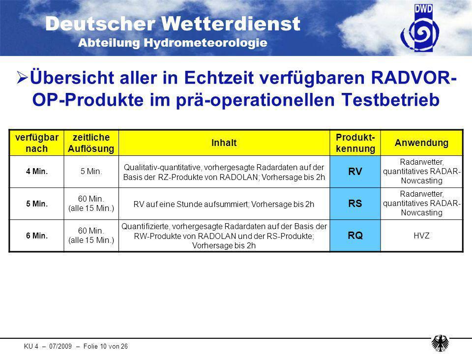 Deutscher Wetterdienst Abteilung Hydrometeorologie KU 4 – 07/2009 – Folie 10 von 26 Übersicht aller in Echtzeit verfügbaren RADVOR- OP-Produkte im prä