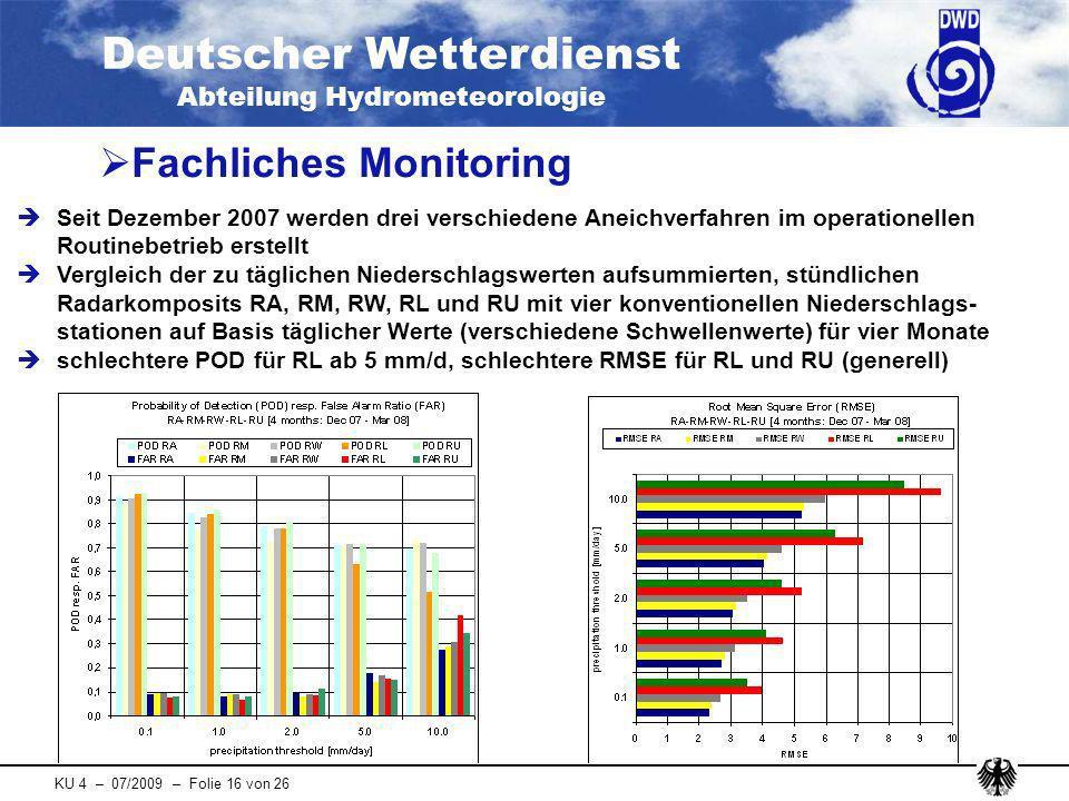 Deutscher Wetterdienst Abteilung Hydrometeorologie KU 4 – 07/2009 – Folie 16 von 26 Seit Dezember 2007 werden drei verschiedene Aneichverfahren im ope
