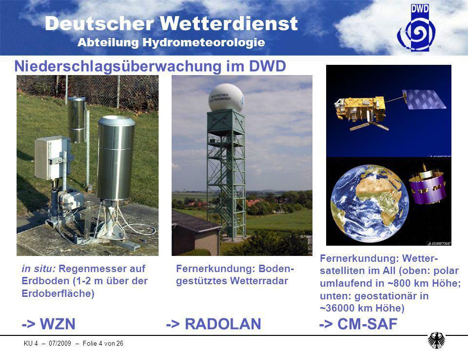 Deutscher Wetterdienst Abteilung Hydrometeorologie KU 4 – 07/2009 – Folie 25 von 26 Erweiterung der Produktpalette von RADOLAN-ME: - EX-Produkt (analog zum RX) - EY-Produkt (analog zum RY) Unterscheidung in fest und flüssig beim Radar- Nowcasting (RE-Produkt) Operationalisierung des quantitativen Radar-Nowcastings Ausblick