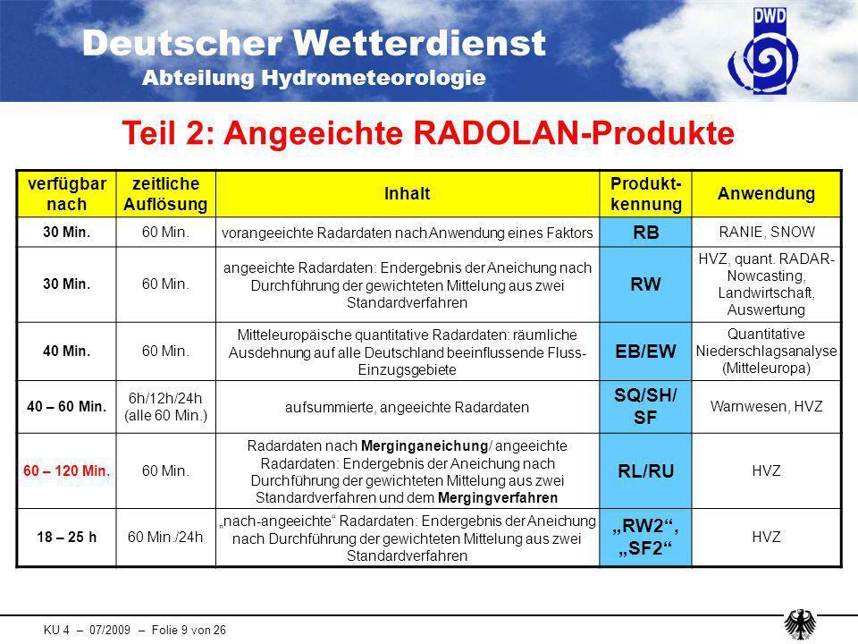 Deutscher Wetterdienst Abteilung Hydrometeorologie KU 4 – 07/2009 – Folie 10 von 26 Übersicht aller in Echtzeit verfügbaren RADVOR- OP-Produkte im prä-operationellen Testbetrieb verfügbar nach zeitliche Auflösung Inhalt Produkt- kennung Anwendung 4 Min.5 Min.