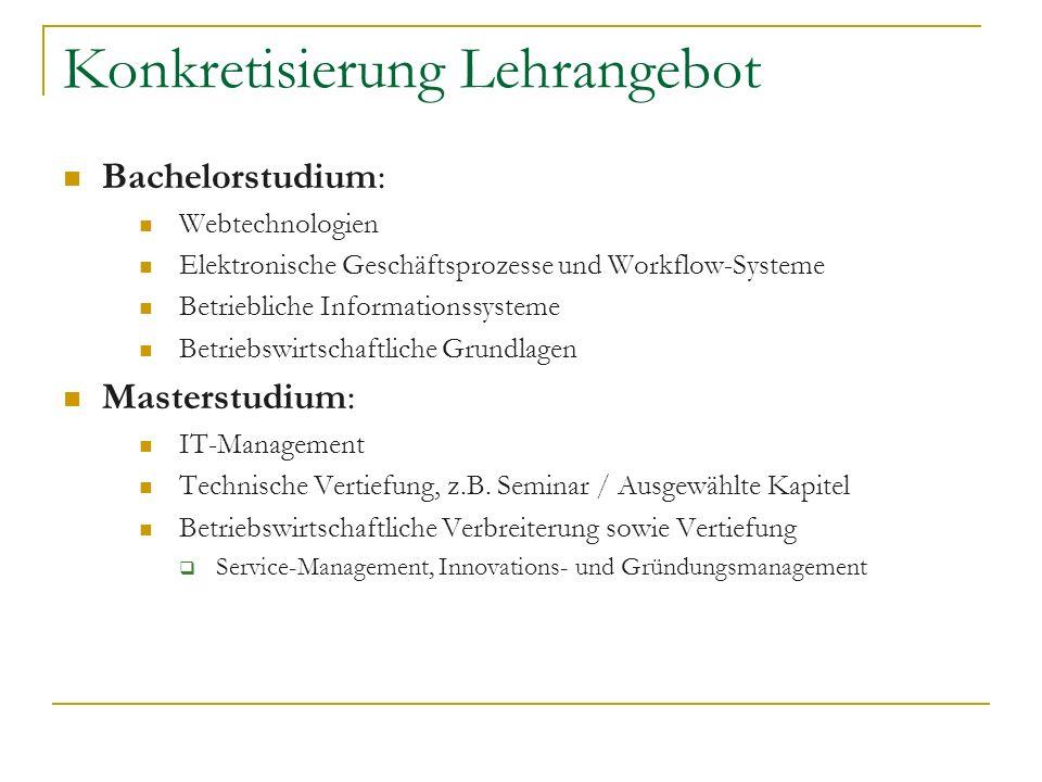 Konkretisierung Lehrangebot Bachelorstudium: Webtechnologien Elektronische Geschäftsprozesse und Workflow-Systeme Betriebliche Informationssysteme Bet