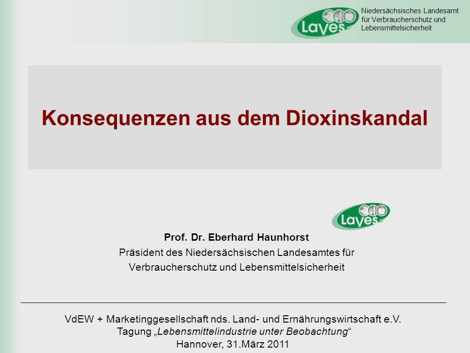 Niedersächsisches Landesamt für Verbraucherschutz und Lebensmittelsicherheit Dioxin in Futtermitteln Maßnahmen Niedersachsen 1.Kontrolle + Beprobung der betroffenen Futtermittelbetriebe 2.Risikobewertung der betroffenen Futtermittelbetriebe anhand Einmischgrad der belasteten Mischfettsäuren (Ampelsystem) 3.Sperrung des Fettauslieferungslagers von Harles & Jentzsch in Bösel (Fa.
