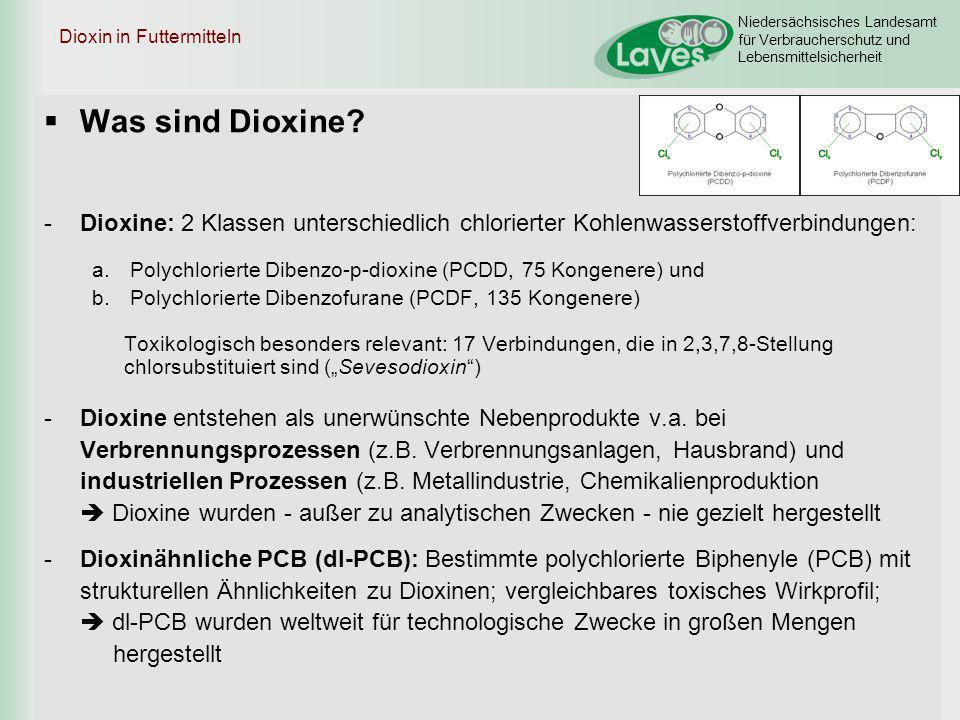 Niedersächsisches Landesamt für Verbraucherschutz und Lebensmittelsicherheit Dioxin in Futtermitteln Was sind Dioxine? -Dioxine: 2 Klassen unterschied
