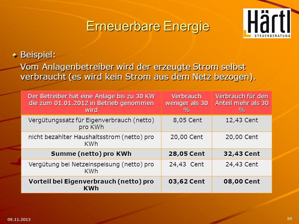 Beispiel: Vom Anlagenbetreiber wird der erzeugte Strom selbst verbraucht (es wird kein Strom aus dem Netz bezogen). 10 09.11.2013 Der Betreiber hat ei