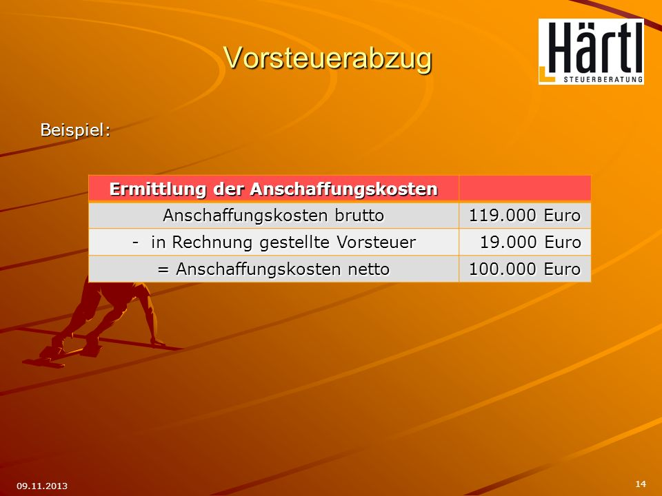 Vorsteuerabzug Beispiel: 14 09.11.2013 Ermittlung der Anschaffungskosten Anschaffungskosten brutto 119.000 Euro - in Rechnung gestellte Vorsteuer 19.0