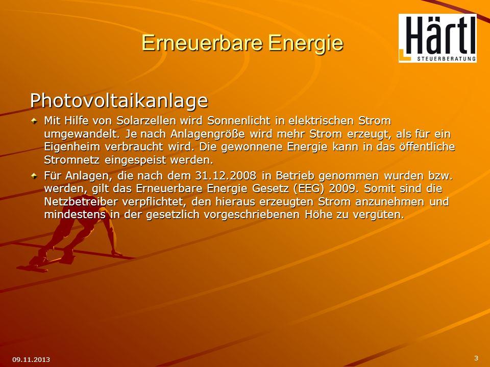 3 09.11.2013 Photovoltaikanlage Mit Hilfe von Solarzellen wird Sonnenlicht in elektrischen Strom umgewandelt. Je nach Anlagengröße wird mehr Strom erz