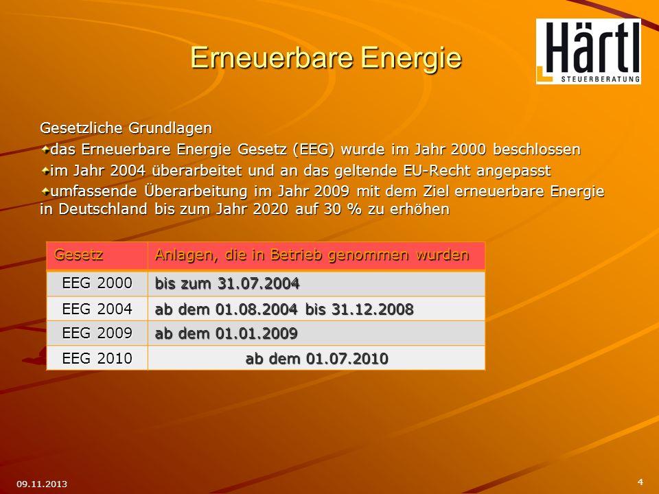 4 09.11.2013 Gesetzliche Grundlagen das Erneuerbare Energie Gesetz (EEG) wurde im Jahr 2000 beschlossen im Jahr 2004 überarbeitet und an das geltende